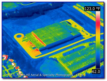 aerial thermal infrared image of buildings in an industrial park